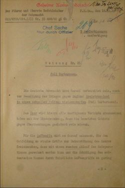 Hitler's War Directive No. 21 ordering preparations for Operation Barbarossa