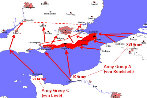 Map of German plan for Operation Sealion